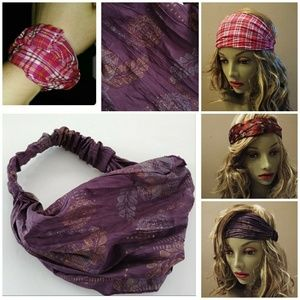 Accessories - HEADBAND BANDANA FLORAL METALLIC WRAP HAIR BAND